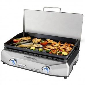 campingaz plancha master lx portable barbecue with food