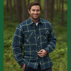 champion totnes men's padded work shirt green check