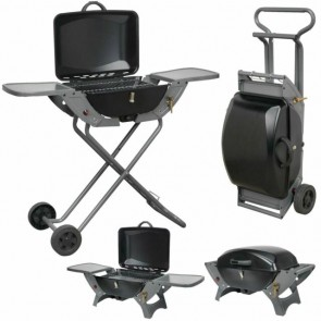 Crusader Combo Portable Gas BBQ c/w Folding Trolley - V739