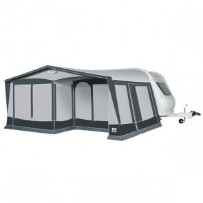 dorema royal 350 deluxe caravan awning with blinds down