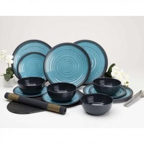 flamefield granite aqua 12pc melamine essentials set