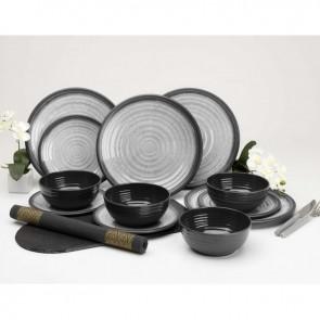 flamefield granite grey 12pc melamine essentials set