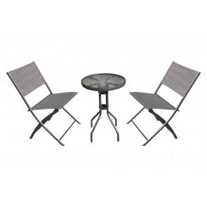 Gardenwize 3 piece garden balcony bistro set with 2 folding chairs & 50cm table GW346