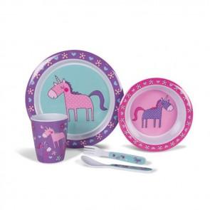 kampa unicorn children's 4pc melamine set mm0092