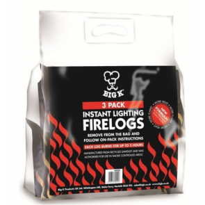 Pack of 3 Big K Instant Lighting Firelogs Firewood Wood Burner Fire Winter Logs