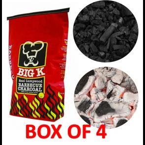 BOX OF 4 PACKS of 5KG Big K BBQ Barbecue Lumpwood Charcoal