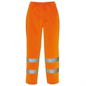 portwest hi vis poly cotton trousers e041 orange