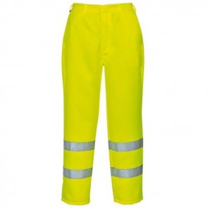 portwest hi vis poly cotton trousers e041 yellow