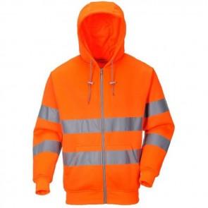 portwest hi-vis zip front hoodie b305 orange
