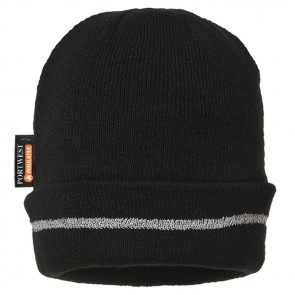 portwest knitted hat  with reflective trim b023 black
