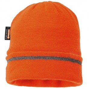 portwest knitted hat  with reflective trim b023 orange