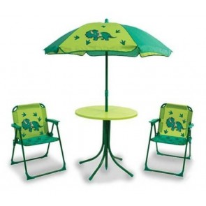 Quest Childrens kids childs Dinosaur table parasol & 2 folding chair garden set