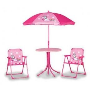 Quest Children's kids childs unicorn table parasol & 2 folding chair garden set