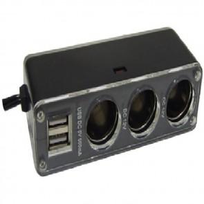 Streetwize 12V Triple Socket with 2 USB Sockets SWPS9