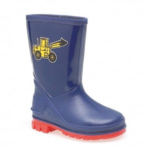 kids navy/red digger wellie w204c