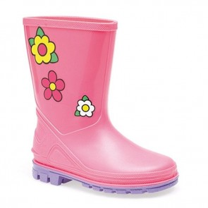 kids pink/lilac floral wellie w204pk